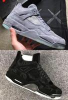 sapatos de basquetebol de edição limitada venda por atacado-Cool X Kaws Cinza Brilho Nos Sapatos de Basquete Dos Homens Escuros 4 4s Preto de Alta Qualidade Sapatos de Edição Limitada Baqueta dos Treinadores 4s ...