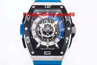 relógio de aço inoxidável resistente a água azul venda por atacado-Venda quente de Luxo Mens Watch Safira Automático Caixa De Aço Inoxidável Pulseira De Borracha Azul Sólida Caso Voltar Super luminosa Dial Resistente À Água 50 M