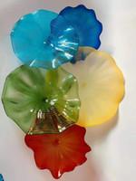 ingrosso piastre in vetro soffiato-Bella decorazione della parete Blown lastre di vetro Fiore Wall Art CE UL Certificato Decorazione Lampade d'arte in vetro soffiato Lampade da parete