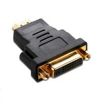 lcd tv dvd hdmi al por mayor-DVI a HDMI Adaptador Convertidor DVI 24 + 5 Macho a HDMI Hembra Convertidor para HDTV LCD Ordenador PC DVD Proyector PS3 PS4 TV