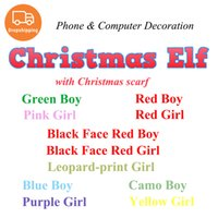 Wholesale scarf drop shipping resale online - Drop Shipping Christmas Elf Doll with Scarf Phone Computer Shelf Decoration Plush Toys Elves Dolls Mobile Accessories Kids Children Gifts