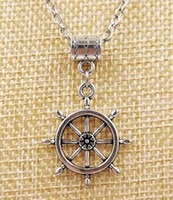 Wholesale pirate style necklaces resale online - Hot Fashion Ancient Silver Rudder Pirate Ship Big Rudder Charm Pendant Necklace Punk style For Men Jewelry Gifts