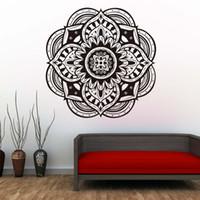 vinil duvar etiketleri yoga toptan satış-1 adet mandalalar yoga duvar sticker hint desen duvar çıkartmaları su geçirmez vinil sanat tasarım ev dekor çıkarılabilir duvar