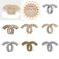 perlas de disfraces al por mayor-Broche de la manera de lujo del diseñador broches de cristal de diamante de las mujeres chapado en oro perla Broche Ladys joyería de fantasía decoración de la mejor calidad