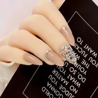 кристаллы ложных ногтей оптовых-Прохладный кофе Пресс на Bling Ab Кристалл ногтей поддельные ногти натуральные накладные ногти Стилет с наклейками 24шт чистый цвет