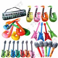 teclado s al por mayor-Más caliente de PVC inflable de juguete inflable instrumento guitarra bajo radio saxofón micrófono teclado inflable de juguete para niños