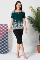 pantalones de lycra verde al por mayor-Siyah inci Lady Green Cotton Lycra Capri Suit 19102622