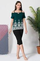 calças lycra verde venda por atacado-Siyah inci senhora verde algodão Lycra Capri calças terno 19102622