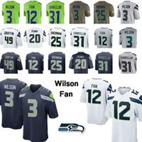 fan new jersey großhandel-3 Russell Wilson Jersey Seattle Jersey 12 Fan Seahawk 49 Griffin 20 Penny Kam 31 Kanzler Doug 89 Baldwin Fußballjerseys 19 20 neu