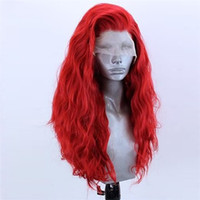 Wholesale synthetic white curly long wig for sale - Group buy Cosplaysalon inches Long Curly Red White Pink Green Black Synthetic Hair Party Fancy Lace Front Wig Cap