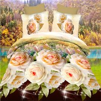 Wholesale rose print clothes for sale - Group buy Plant Rose Flower Polyester Cotton D Bedding Set Duvet Cover Bed Sheet Pillowcase Full King Size Multicolor Bed Clothes