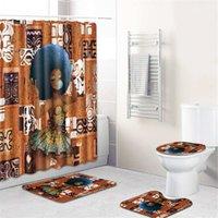 home decors vorhänge großhandel-Nordic African Girl 4 stücke Flanell Badematte / Wc Pad Set Wohnkultur rutschfeste Wc Teppich Wasserdicht Duschvorhang Set