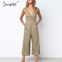Wholesale plus size white linen dress women resale online - Simplee Casual Linen White Women Jumpsuit Solid V Neck Buttons Plus Size Cotton Overalls Straight Female Holiday Jumpsuits Y19071701
