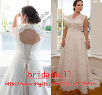 Wholesale vintage wed dress resale online - Plus Size African Elegant V Neck Lace Wedding Dresses Appliqued Sash Boho Country Bridal Gowns Lace Up Back Custom Vestidos De Novia