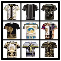 étnicas roupas femininas venda por atacado-3D padrão étnico do vintage homens e mulheres casal T-shirt das mulheres roupas de impressão T-shirt dos homens de verão de mangas curtas casuais