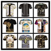 ingrosso uomini di abbigliamento etnico-T-shirt da uomo, vintage e vintage modello etnico 3D T-shirt da donna, T-shirt da uomo, da uomo, estate a maniche corte casual