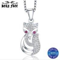 encantos da raposa para colares venda por atacado-Sterling silver fox animal colares pingentes de prata esterlina 925 medalhão pingente encantos pendentif jóias bijoux joyas de plata