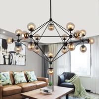 ingrosso lampade a tubo nero-Lampadari di design Globe Lampadari per soggiorno Lampadari corpo nero / oro con illuminazione in vetro colore opzioni