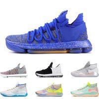 ingrosso dimensione kd 12-scarpe da basket da uomo KD 10 12 EYBL 90S KID WARRIORS HOME Wolf Grey UNIVERSITY RED FINALS sneaker sportive sneakers taglia 7-12