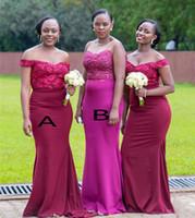 Wholesale hot pink royal purple wedding dresses resale online - African Hot Mermaid Bridesmaid Dresses Appliques Sequins Satin Long Maid of Honor Gowns Elegant Off Shoulder Neck Wedding Guest Wear BM1564