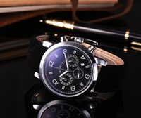 Wholesale big leather watches men for sale - Group buy Newest arrival men luxury watch mont japan quartz big dial pu leather strap flyback watches casual monaco blanc wristwatch