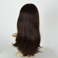 camadas de cabelo castanho venda por atacado-Em estoque pequena cor da camada 2 # dark brown mongol cabelo virgem perucas judaicas kosher peruca para mulheres top multidirecional