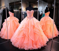 Wholesale ball gowns crystal teens for sale - Group buy Sweetheart Ball Gowns Quinceanera Dresses With Crystal Beaded Organza Ruffles Prom Pageant Dress Long Teens Formal Wear Gradustion Dress
