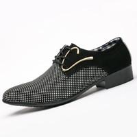 mocasines de vestir de cuero para hombres al por mayor-Moda para hombre de cuero conciso de los hombres vestido de negocios a cuadros puntiagudos zapatos negros de la boda formal transpirable zapatos básicos hombres 2018 mocasines