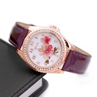 Wholesale bright digital watches resale online - Fashion digital scale diamond two flower ladies watch point diamond bright leather watch