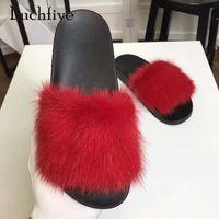 sandales à fond épais marron achat en gros de-2018 mode pantoufles de fourrure femme à bout ouvert rouge bleu brun cuir véritable fond épais chaussures de sport femme gladiateur sandales