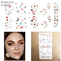 Wholesale makeup for legs resale online - FT1810 Metallic Silver and Gold with Colored Butterfly Freckle Face Tattoo Sticker for Body Makeup inpsired