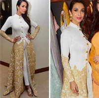 c79b3298c2e Wholesale white jumpsuit buttons online - 2019 Gold Appliques Satin High Neck  Jumpsuits Dubai Arabic Long