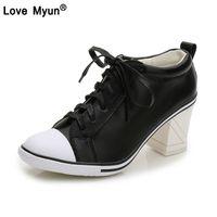 sandalia de encaje nuevo coreano al por mayor-Otoño Nuevo Coreano de Cuero Genuino Salvaje Zapatos de Las Mujeres solos Tacones Altos Cordón Moda Zapatillas Personalidad Tendencia Estudiante Shoes784
