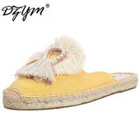 льняное полотно оптовых-DZYM 2019 Spring Summer New Flax Fisherman Shoes Women Slippers Tassel & Fluffy Ball Canvas Mule Shoes Espadrilles Slides