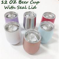 vasos de navidad al por mayor-Vaso de cerveza de 12 onzas con tapas selladas Copas de vino de acero inoxidable Taza de acero de café Taza Vacío Termo de oro rosa Regalo de Navidad