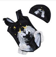 Wholesale black children swimwear resale online - 2019 Newest style unicorn one pieces children black pink unicorn swimwear with cap lovely girl summer bathing wear T