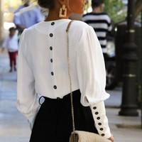 manga branca venda por atacado-V pescoço mulheres blusa camisa blusa manga Puff blusa branca outono inverno senhora camisa top feminino escritório chiffon blusa tops