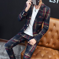 Wholesale linen suit online - European Station New Polyester Men s Small Suit Suit Youth Casual Business Slim Trend Men s Plaid Suit Two piece J190420