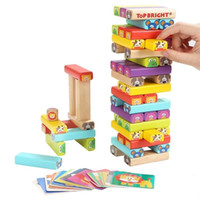 Wholesale building blocks dominoes for sale - Group buy Colorful Wooden Tower cartoon animal Building Blocks Toy Domino Stacker Extract Building Educational Game for Children T190919