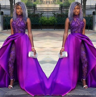Wholesale sexy t pants lace resale online - 2020 Prom Jumpsuits Dresses With Detachable Train High Neck Lace Appliqued Evening Gowns African Party Women Pant Suits BC2479
