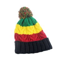 ingrosso berretto da slouch baggy-Bob Marley Giamaica Rasta Slouch Beanie Hat Warm Berretto da berretto Invernale Reggae Multicolor Stripe Hip Hop Baggy