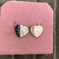 pendiente de plata al por mayor-Top de lujo Marca de Diseño de plata corazón Stud Ear anillo Joyas oro rosa 3 colores pendientes para Mujeres niñas encantadora amistad Regalo Envío Gratis