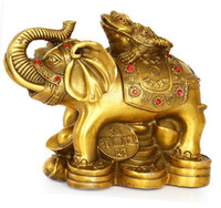 Wholesale metal fan feng shui resale online - Pure copper lucky wealth glory on the golden plaque ornaments copper elephant home feng shui ornaments ornaments crafts
