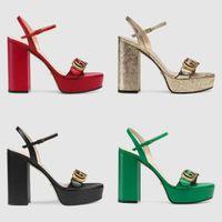 plattform gummisohle großhandel-Branded Frauen Leder Plattform High Heel Sandale Designer Lady Brief Drucken Leder Knöchelriemen Gummisohle Sandale