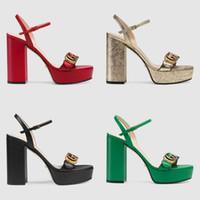 kauçuk tabanlı platformlar toptan satış-Markalı Kadın Deri Platformu Yüksek Topuk Sandalet Tasarımcı Bayan Mektup Baskı Deri Ayak Bileği Kayışı Kauçuk Taban Sandal