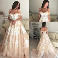 1f1a58e77694c off shoulder line wedding dress corset 2019 - 2019 Champagne Elegant  Wedding Dresses Off The Shoulder