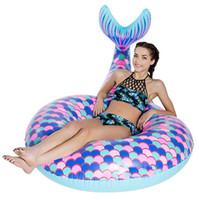 tierschwimmen ringe großhandel-Heiße Meerjungfrau Schwimmen Kreis Rohre riesigen aufblasbaren Tier Matratze schwimmt Wasser Party Rohre Schwimmring erwachsenen Strand Spielzeug