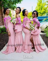 Wholesale light gray bridesmaid dresses resale online - Mermaid Long Bridesmaid Dresses African sexy split off the shouler with d flower lace beaded Maid Of Honor Gowns Wedding Guest Dresses