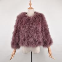 ingrosso giacche da pelliccia di struzzo-Giacca in pelliccia di tacchino naturale fatta a mano in pelliccia di struzzo vera moda femminile di vendita superiore di nuovo arrivo