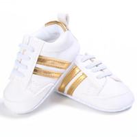 ingrosso modello morbido dei pattini di bambino-2019 Pu Leather Shoes Sport Sneakers Neonato Ragazzi Ragazze Stripe Pattern Shoes Infant Toddler Morbide scarpe antiscivolo